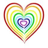 在七种彩虹颜色绘的心脏 免版税库存图片