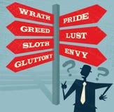 在七贪婪路标的抽象商人 向量例证