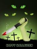 在万圣夜夜公墓供以人员有刀子的手 库存例证