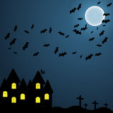 在万圣夜夜空的黑暗的背景与月亮和挥发性myshy EPS10 免版税库存照片
