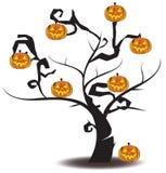 在万圣夜节日的杰克o灯笼树,创造 免版税库存图片