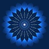 在万花筒样式的神秘的蓝色花 库存照片