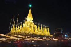 在万象老挝人PDR的Thatluang节日 免版税库存照片