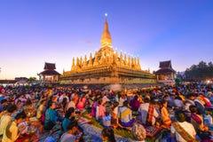 在万象老挝人PDR的Thatluang节日 库存图片