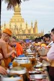 在万象老挝人PDR的Thatluang节日 库存照片