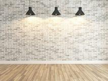 在三个斑点轻的翻译下的白色砖墙装饰 库存图片