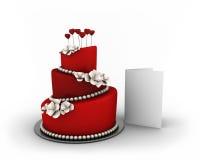 在三个楼层上的红色蛋糕与白花和红色重点 库存照片