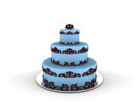 在三个楼层上的蓝色蛋糕与对此的巧克力装饰品 库存照片