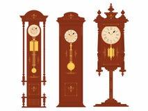 在三个设计上色的地板时钟 库存例证