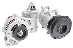 在三个零件的构成的照片引擎的 发电器、空调压缩机和起始者 免版税库存图片