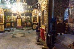 在三只手象在特罗扬修道院里在保加利亚 库存照片