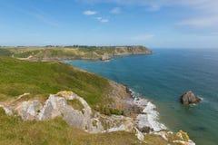 在三峭壁海湾附近的威尔士海岸高尔半岛威尔士英国 免版税图库摄影