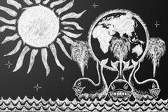 在三条鲸鱼的地球 库存照片