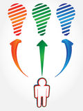在三种颜色的电灯泡概念 库存图片