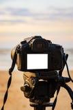 在三脚架白色屏幕上的数字照相机 库存图片