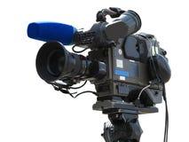 在三脚架的电视专业演播室数字式摄象机隔绝了o 免版税库存图片