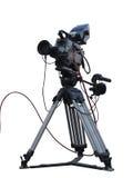 在三脚架的电视专业演播室数字式摄象机隔绝了o 免版税库存照片