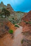 在三角叶杨山谷路Uta附近的多彩多姿的岩层 图库摄影