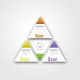 在三角形状的3步战略成功的事务的Infographic EPS10 库存图片