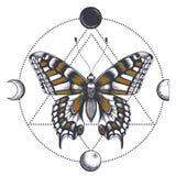 在三角的蝴蝶纹身花刺 月亮阶段 皇族释放例证