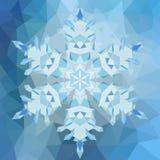 在三角背景的三角抽象几何雪花 免版税图库摄影
