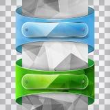 在三角蓝色和绿色标签的透明度板材在 向量例证