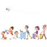 在三代家庭的旅行 向量例证