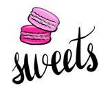 在上写字与题字甜点 向量例证