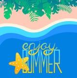 在上写字享受与海星的夏天在海和异乎寻常的叶子 向量例证