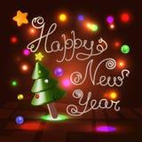 在上写字在欢乐背景的新年快乐3d 库存图片