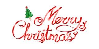 在上写字在白色的圣诞节问候红色丝带3d 免版税图库摄影