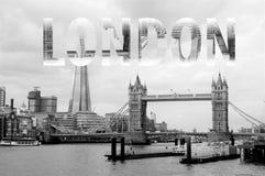 在上写字在黑白的伦敦 免版税库存照片