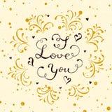 在上写字我爱你与心脏和装饰eleme的华伦泰 免版税图库摄影