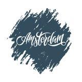 在上写字词蓝色纹理的欧洲市的阿姆斯特丹 向量例证