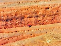 在上升的砂岩和的男孩,拱门国家公园,由精美曲拱的犹他的黄昏阳光 图库摄影