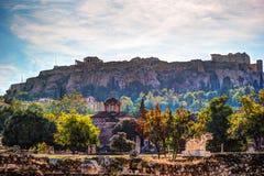 在上城的看法从古老集市,雅典,希腊 库存图片