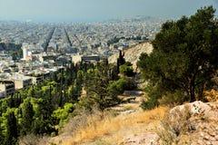 在上城雅典希腊附近的Philopapou小山 免版税图库摄影