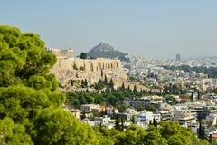 在上城雅典希腊附近的Philopapou小山 库存照片