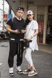 在上海塑造夫妇最富有的城市在中国 库存图片