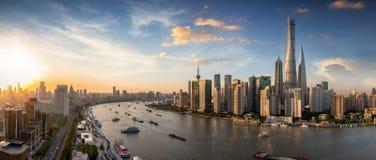 在上海,中国地平线的全景  免版税库存照片