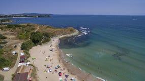 从在上空中看法的黑海海滩 免版税库存图片