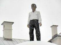 在上面的人,雕塑,萨尔茨堡 库存照片
