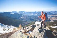 在上面的登山人 库存图片