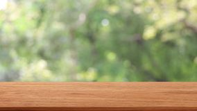 在上面的空的木桌模板有自然移动与有风的绿色背景横跨您的产品蒙太奇的摇摆的树  影视素材