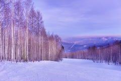 在下坡滑雪滑雪道和小镇的日落 免版税库存照片