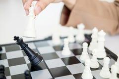 在下棋比赛国王的企业战略形成是将死 免版税库存图片