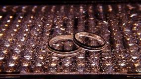 在下落之间的银婚圆环 免版税库存图片