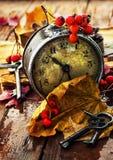 在下落的叶子背景的时钟  库存照片