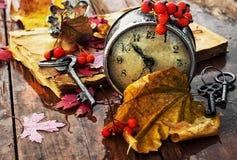 在下落的叶子背景的时钟  库存图片