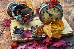 在下落的叶子背景的老时钟  库存图片